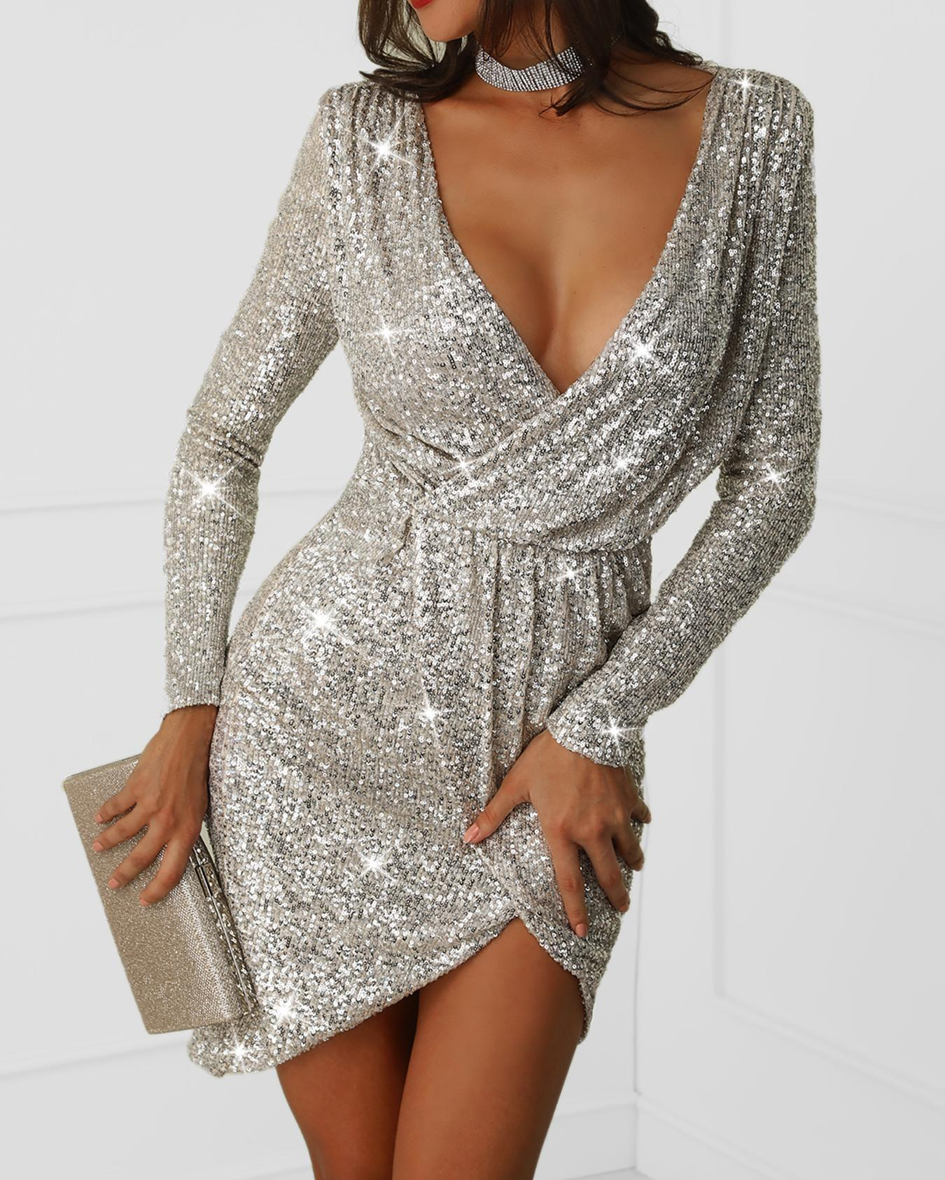 Plunge Wrap Sequin Party Bodycon Dress фото