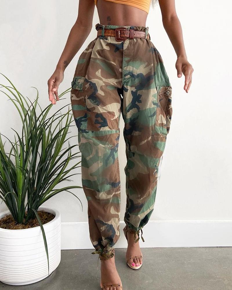 High Waist Camouflage Print Casual Pants фото