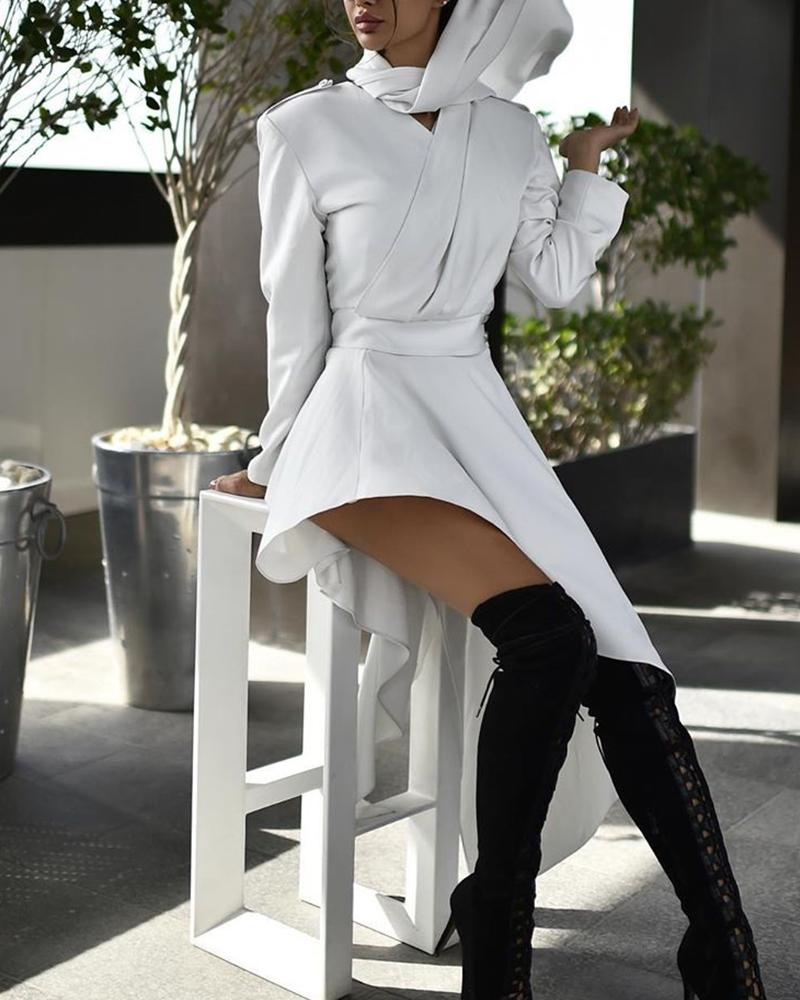 Solid Scarf Neck Mini Wrap Dress, White