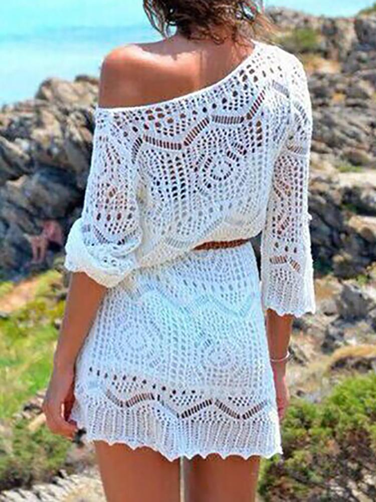 Alluring Pesperctive Lace Crochet Beachwear Cover Up Dress