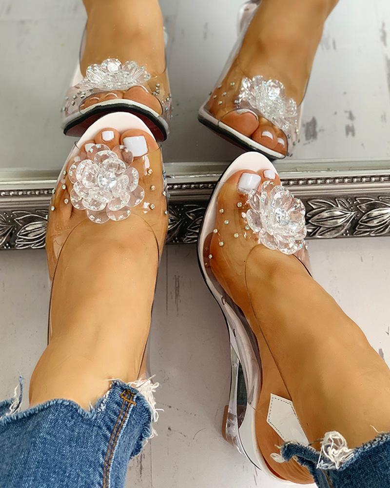 Studded Flower Design Transparent Wedge Sandals фото