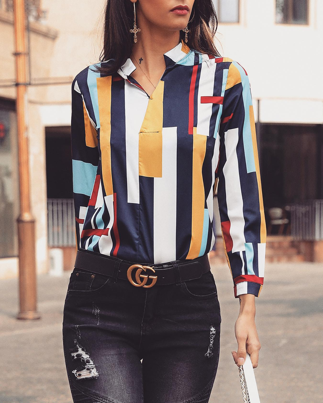 Colorful Striped V-Neck Casual Shirt фото