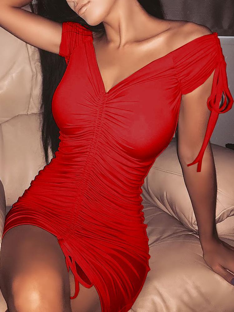 ivrose / Off Shoulder Shirred Drawstring Solid Mini Dress