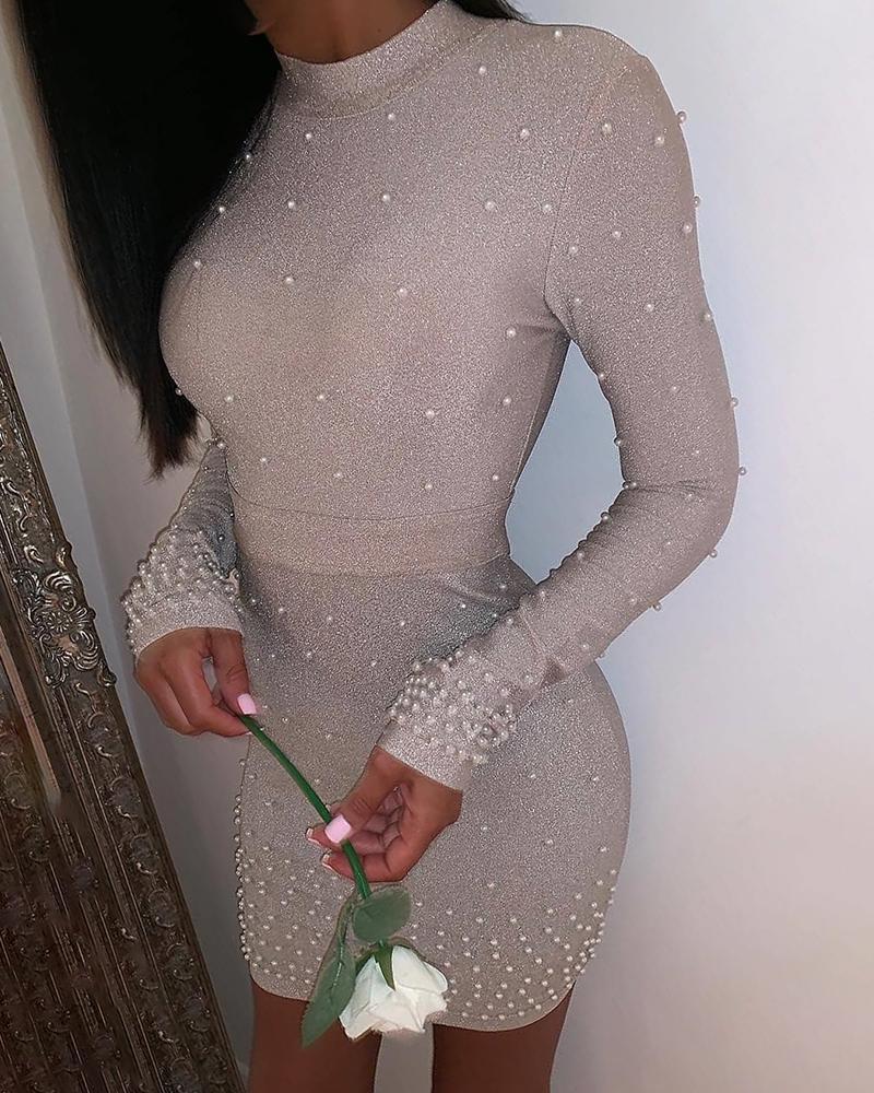 boutiquefeel / Glitter frisado simulado pescoço Bodycon vestido
