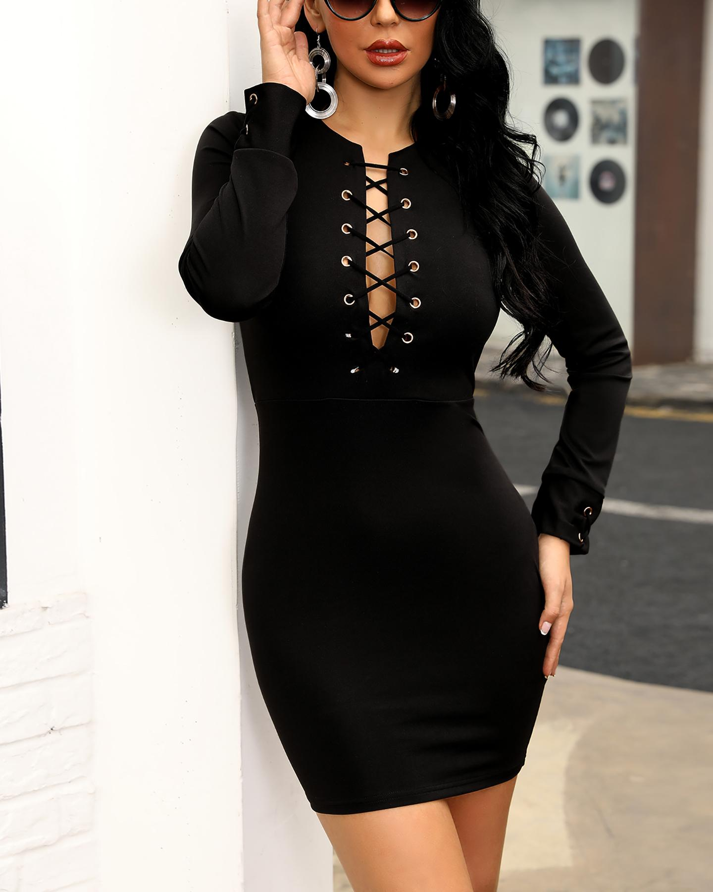 Eyelet Lace-Up Long Sleeve Bodycon Dress