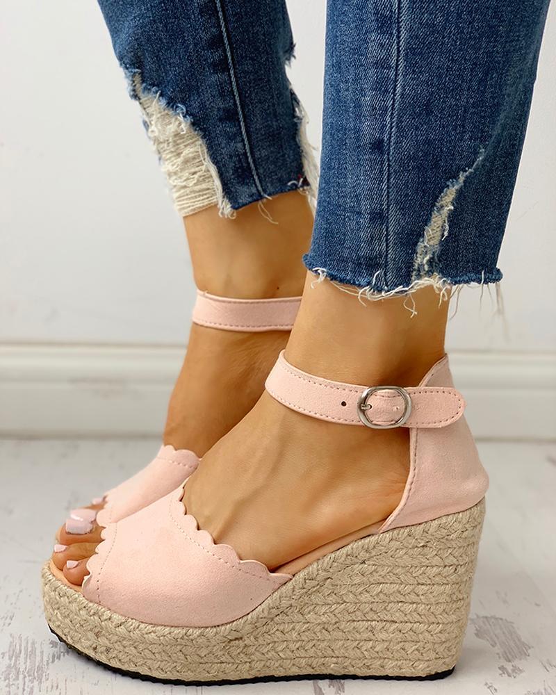 ivrose / Peep Toe Espadrille Platform Wedge Sandals