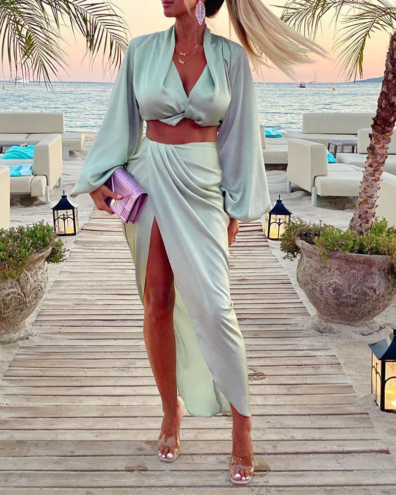 Solid Lantern Sleeve Crop Top & High Slit Maxi Skirt Set фото