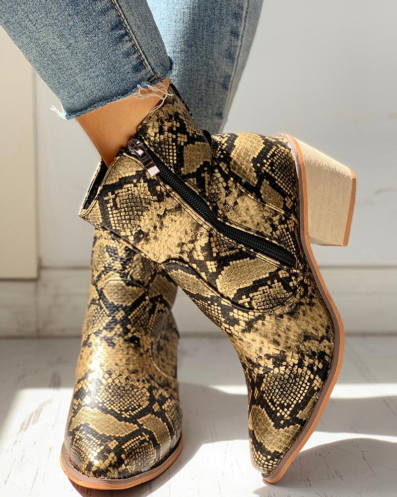 Pointed Toe Snakeskin Zipper Design Chunky Heeled PU Boots, Yellow