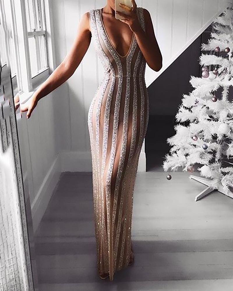 Plunge Sleeveless Sheer Sequin Dress фото