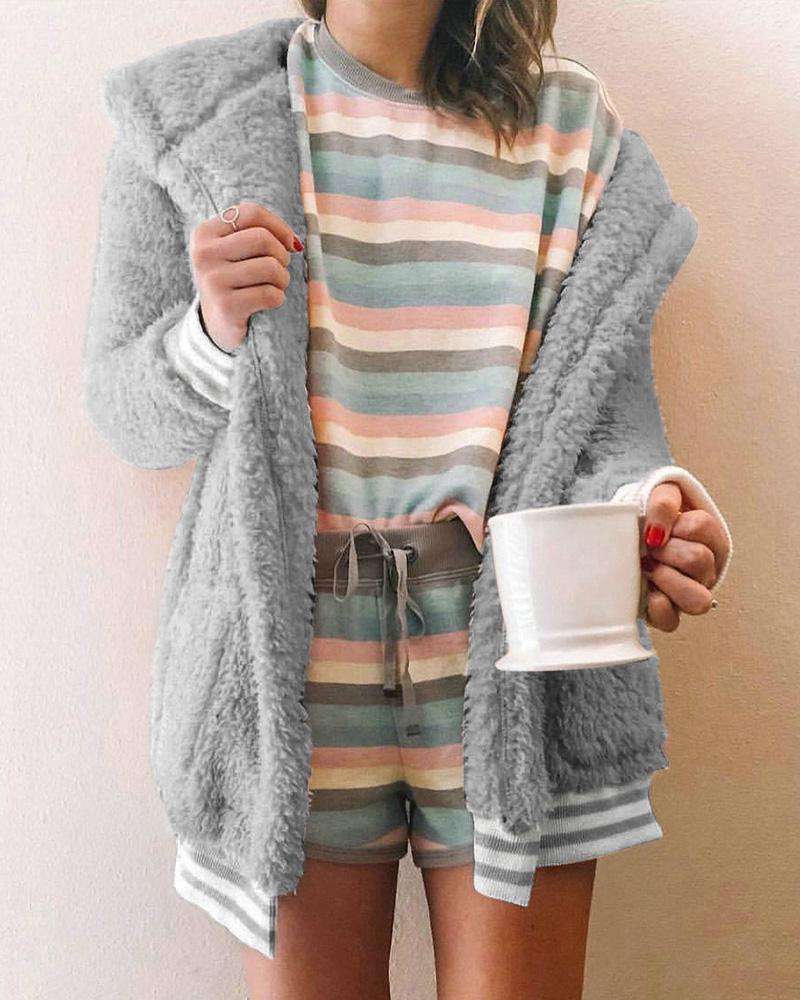 Striped Cuff Pocket Design Fluffy Teddy Cardigan фото