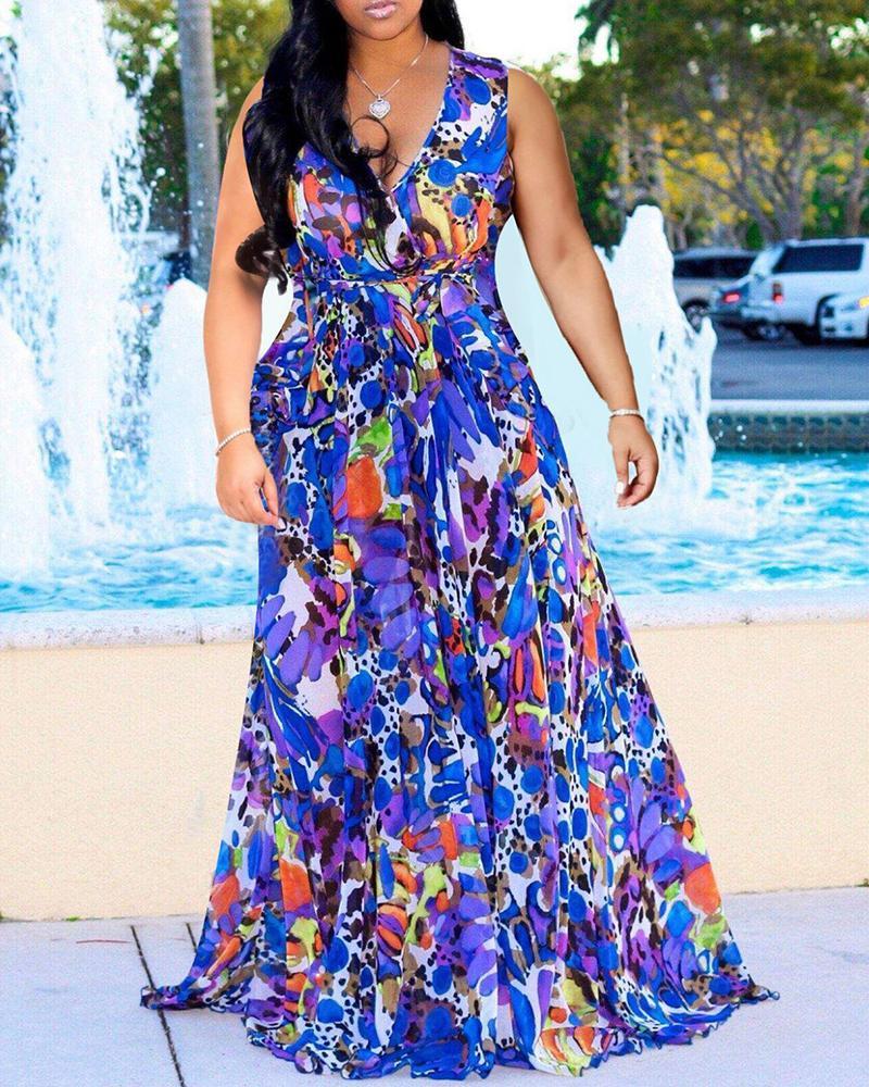Colorful Print Sleeveless Maxi Dress фото