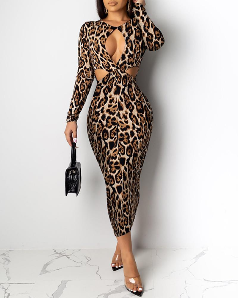 Round Neck Cut Out Waist Leopard Bodycon Dress фото