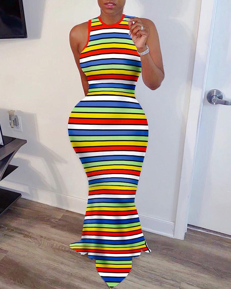 Striped Colorblock Sleeveless Ribbed Maxi Dress фото