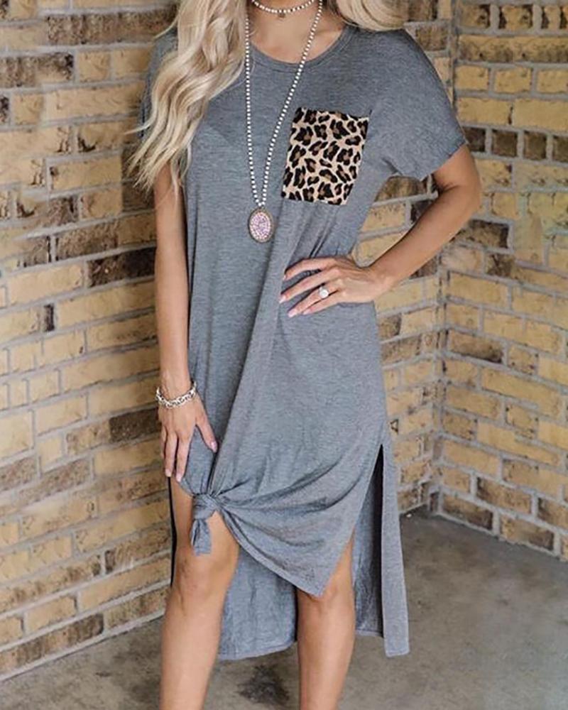ivrose / Leopard Print Pocket Slit Casual Dress