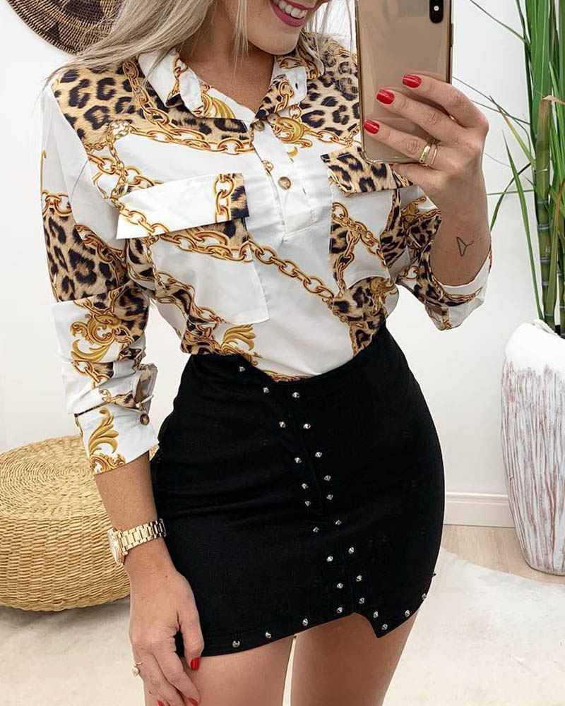 ivrose / Camisa con diseño de botones con estampado de cadena de guepardo