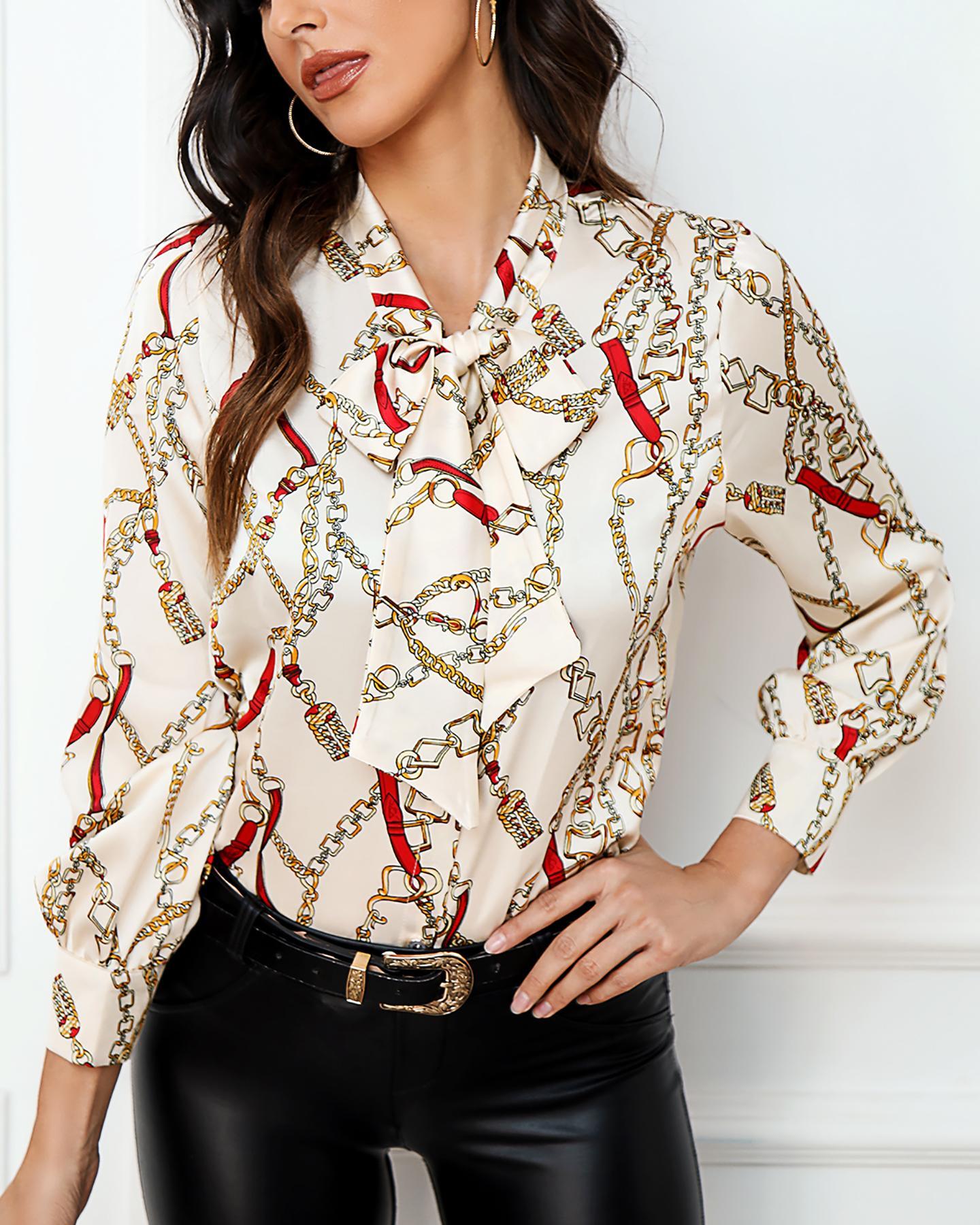 Chain Print Long Sleeve Shirt фото