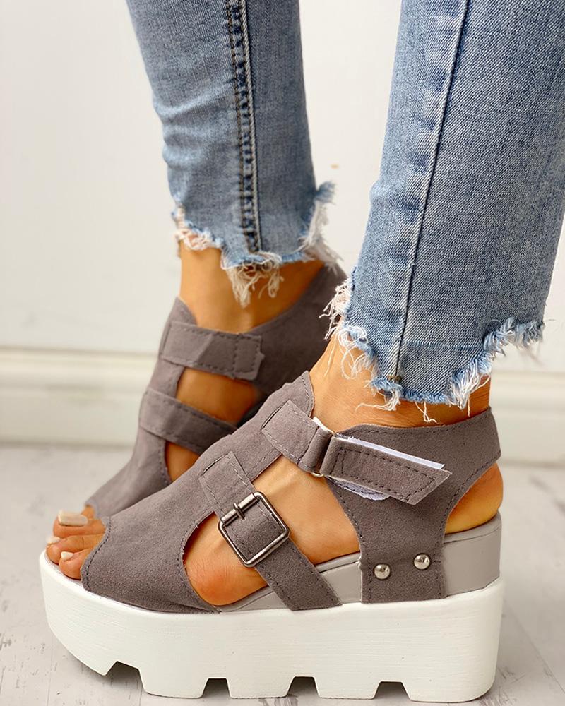chicme / Sandálias de cunha de plataforma de velcro de recorte