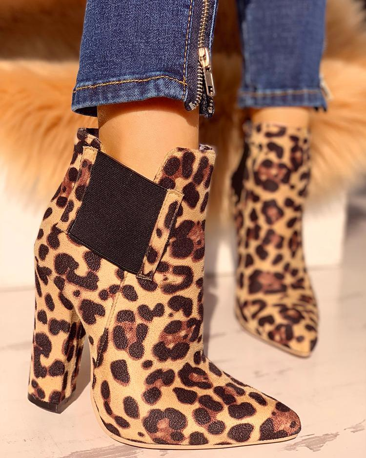Leopard Print Pointed Toe Chunky Heeled Boots