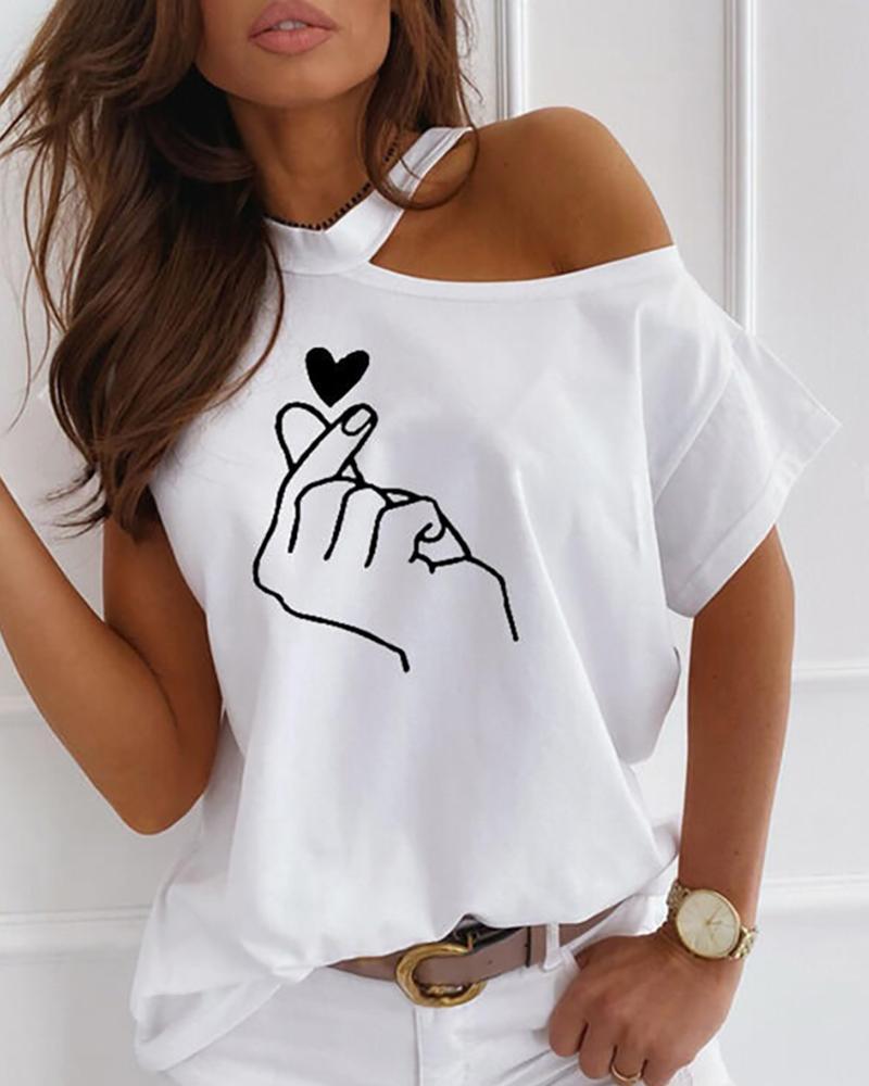 Cold Shoulder Print Casual T-shirt фото
