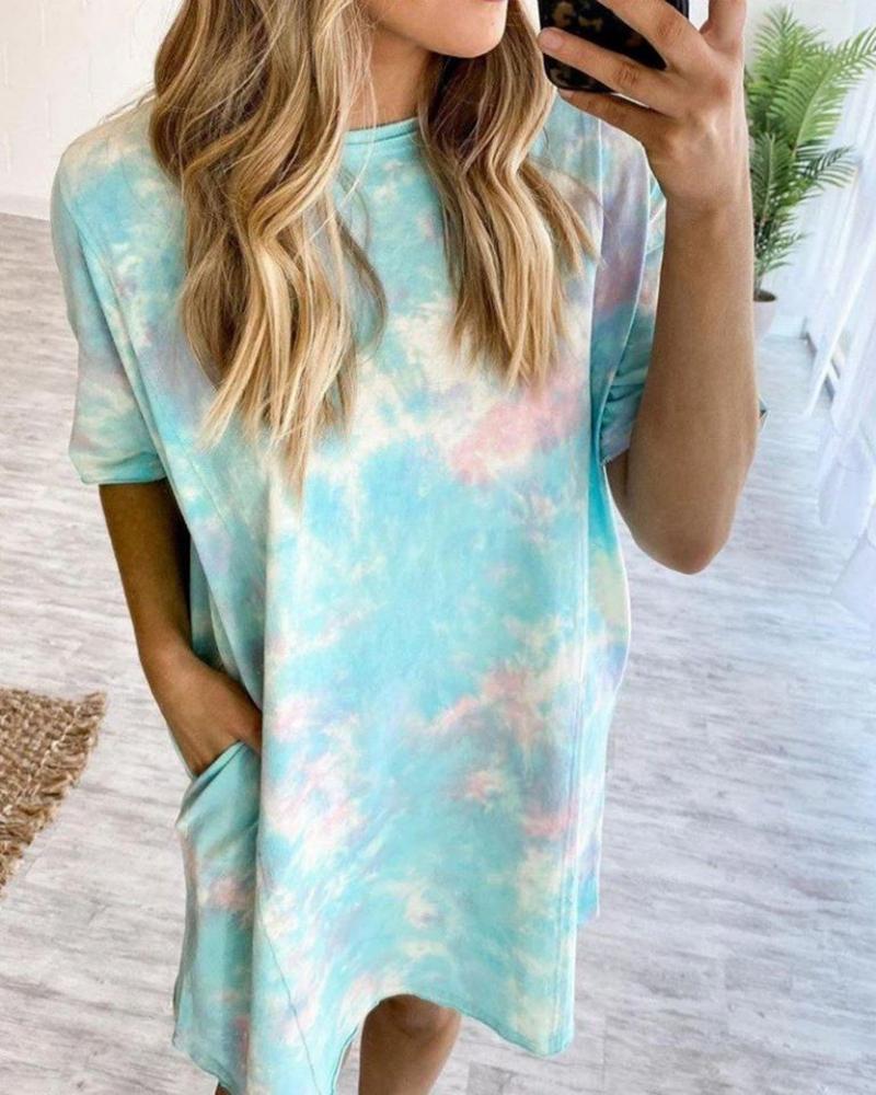 Tie Dye Print Pocket Design Casual Dress фото