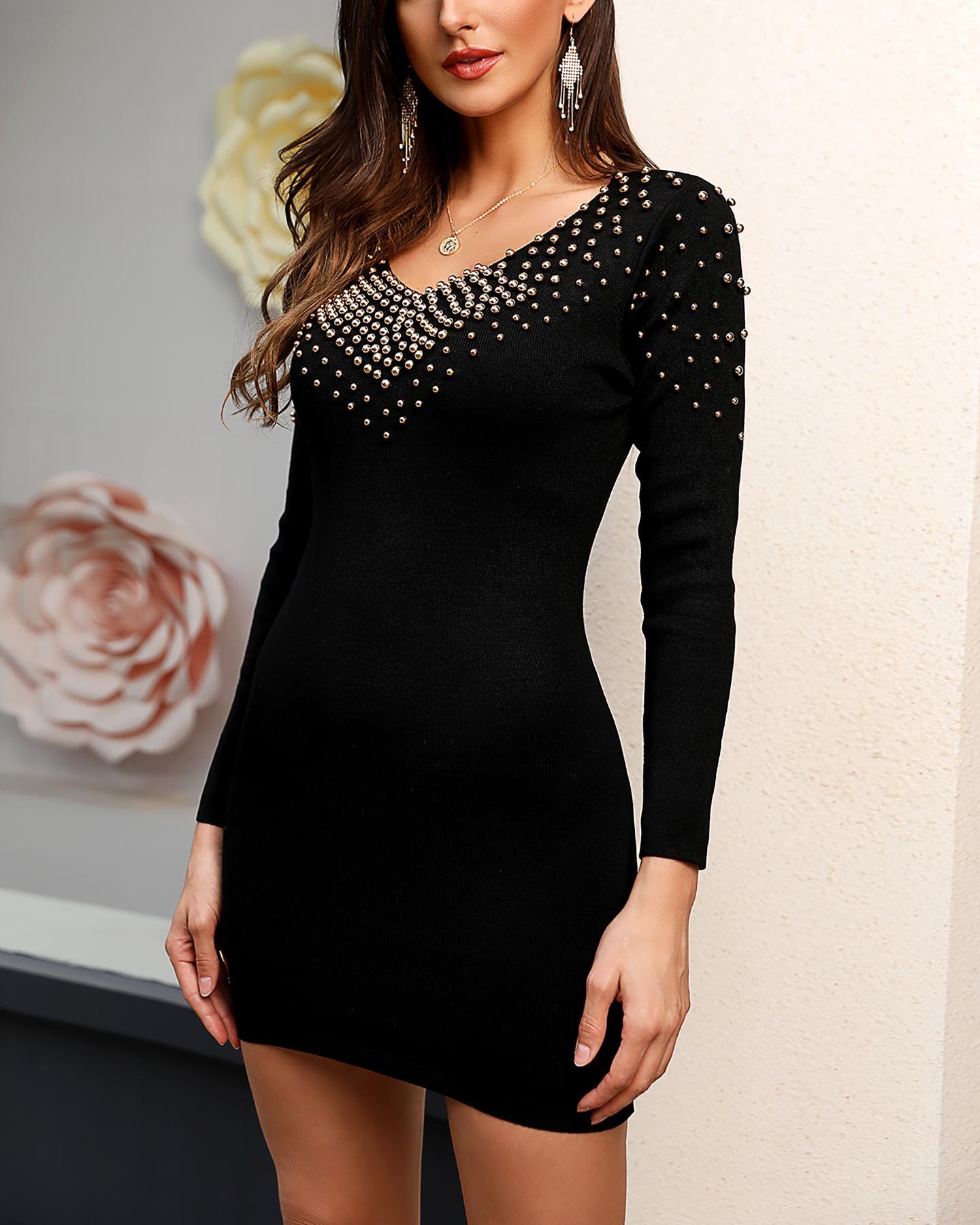 ivrose / Studded V Neck Bodycon Dress