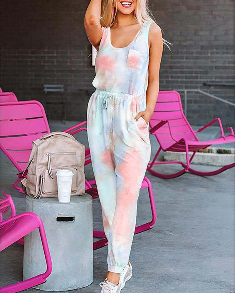 Tie Dye Print Pocket Design Top & Drawstring Pants Set фото