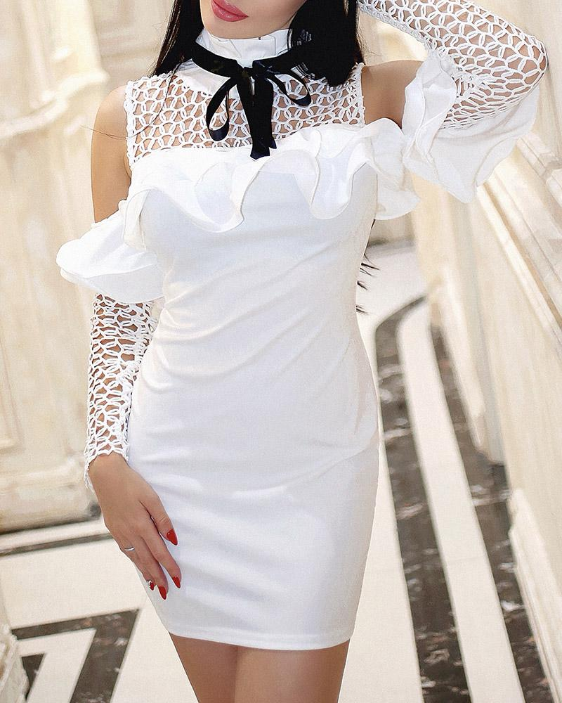 Cold Shoulder Hollow Out Ruffles Bodycon Dress, White