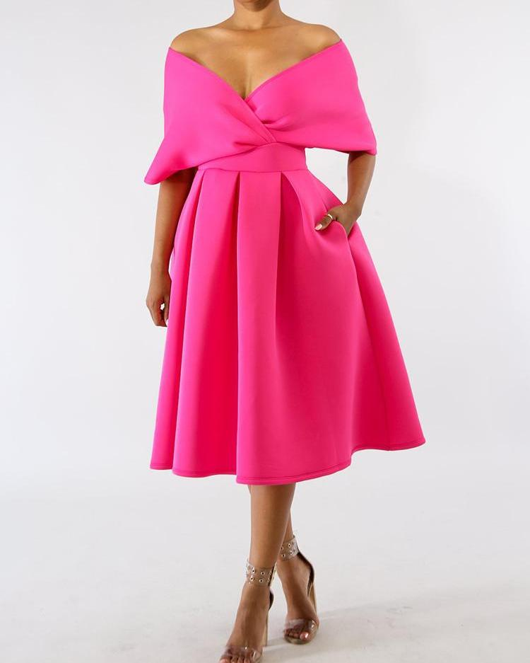 ivrose / Solid Zipper Back Batwing Sleeve Pleated Dress