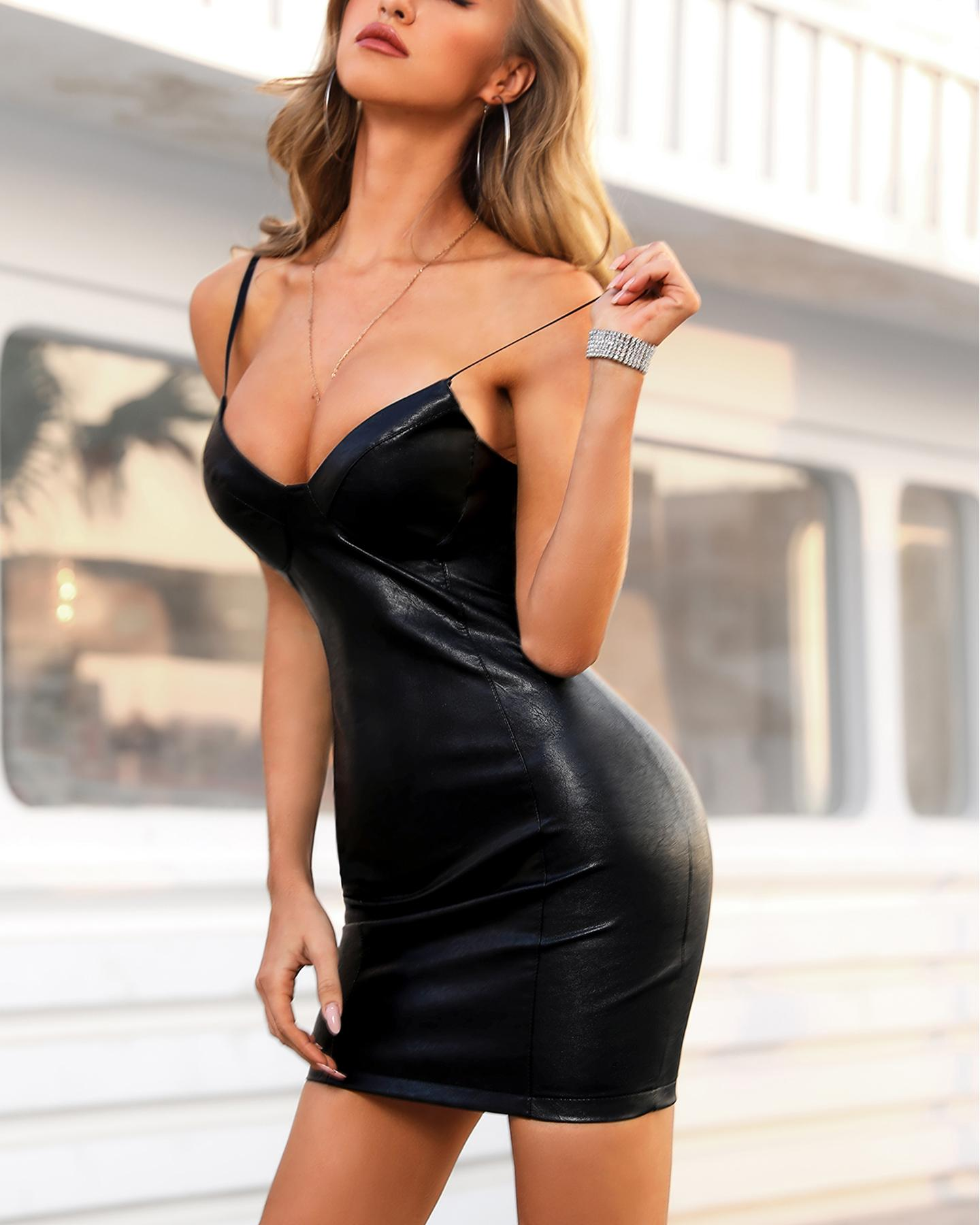 Faux Leather Bodycon Mini Dress фото