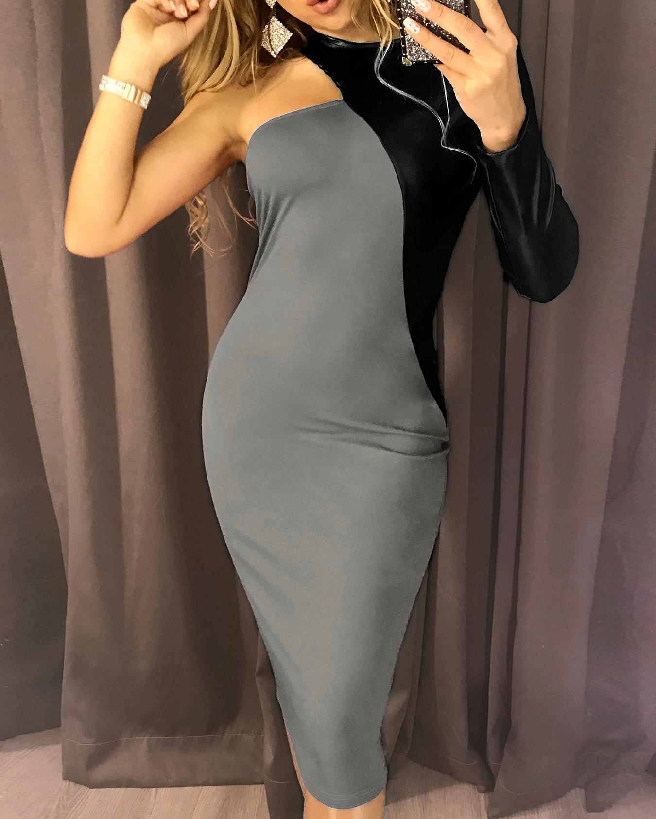 PU Splicing One Long Sleeve Party Dress, Gray