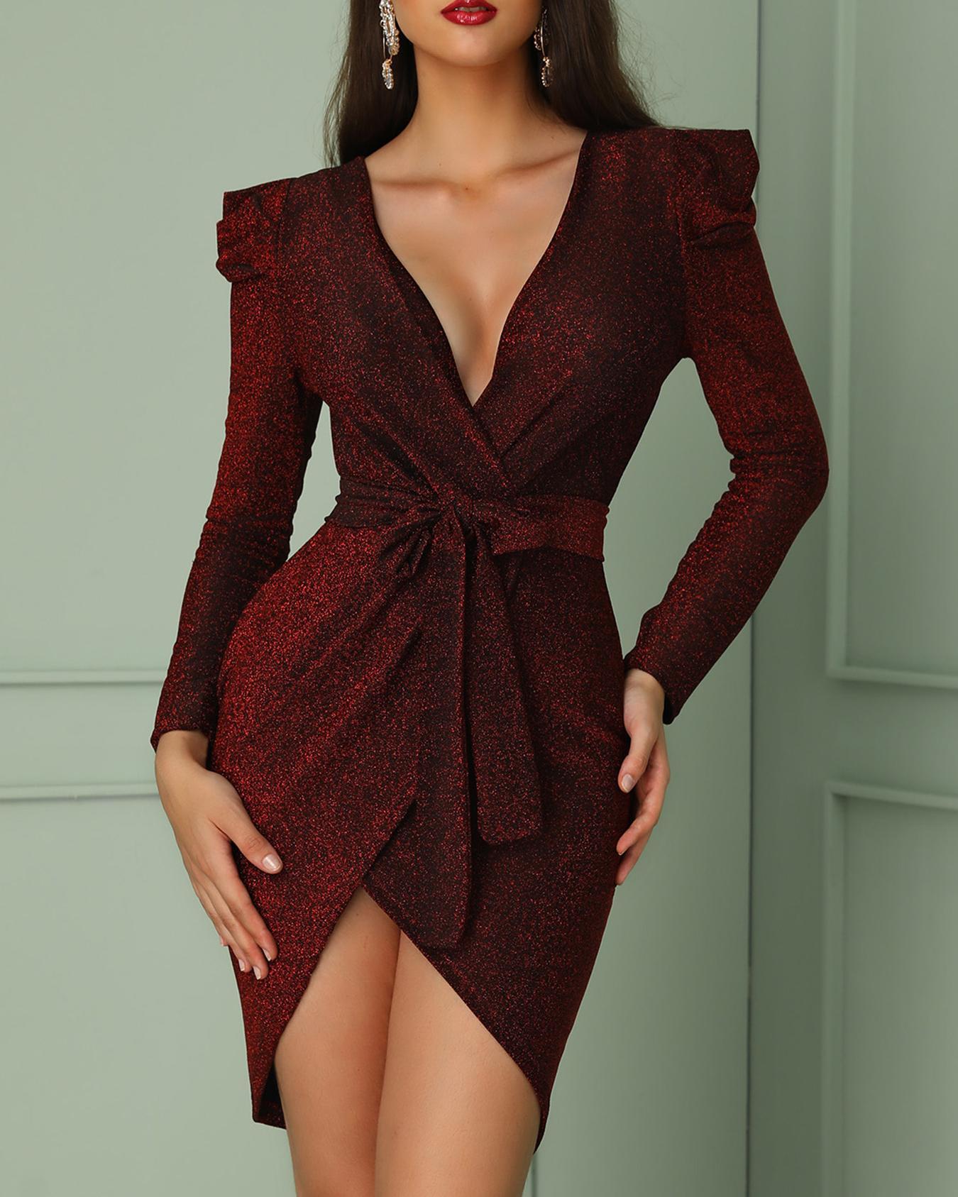 Shiny Ruched Tie Waist Wrap Irregular Dress фото