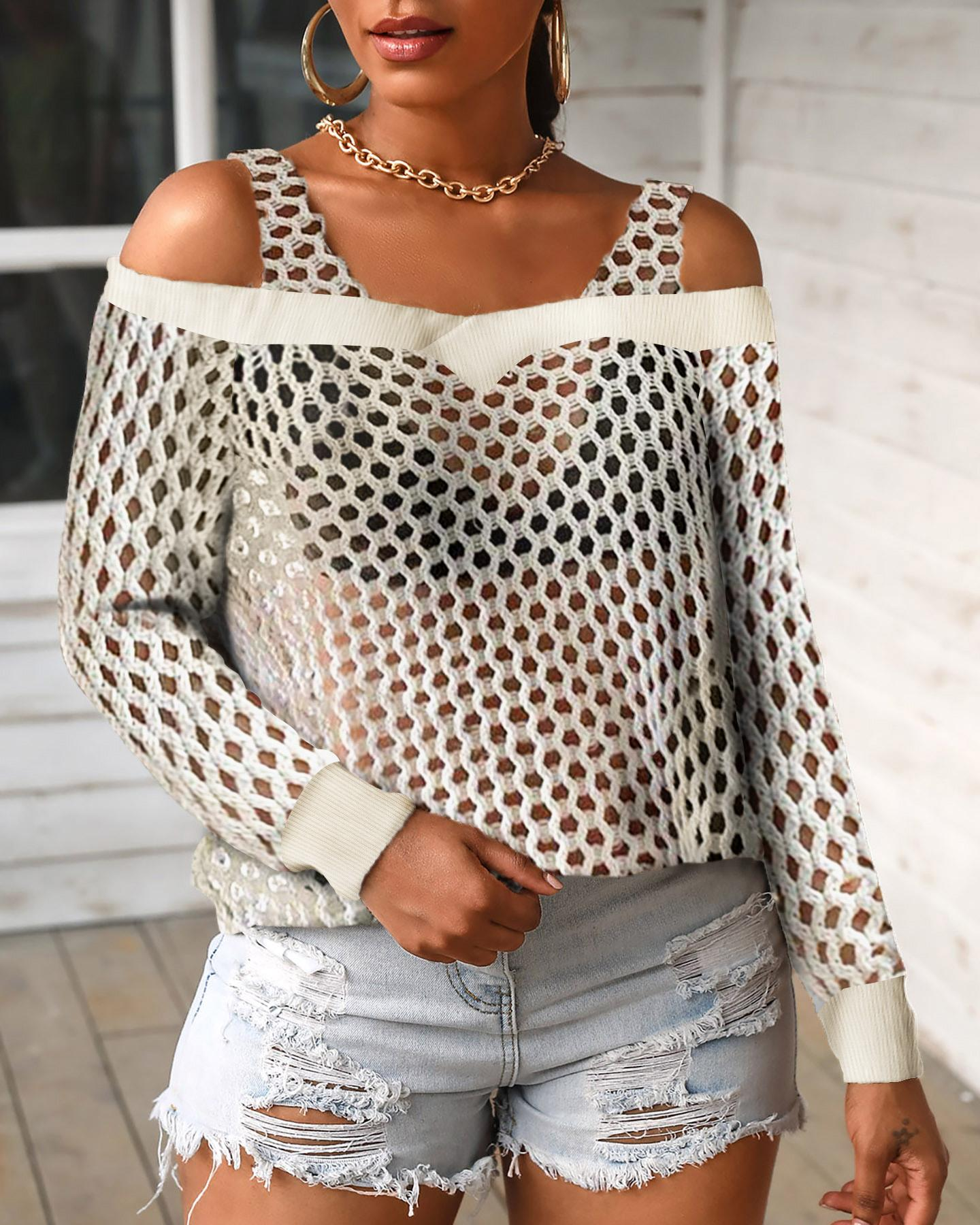 Fishnet Cold Shoulder Hollow Out Top фото
