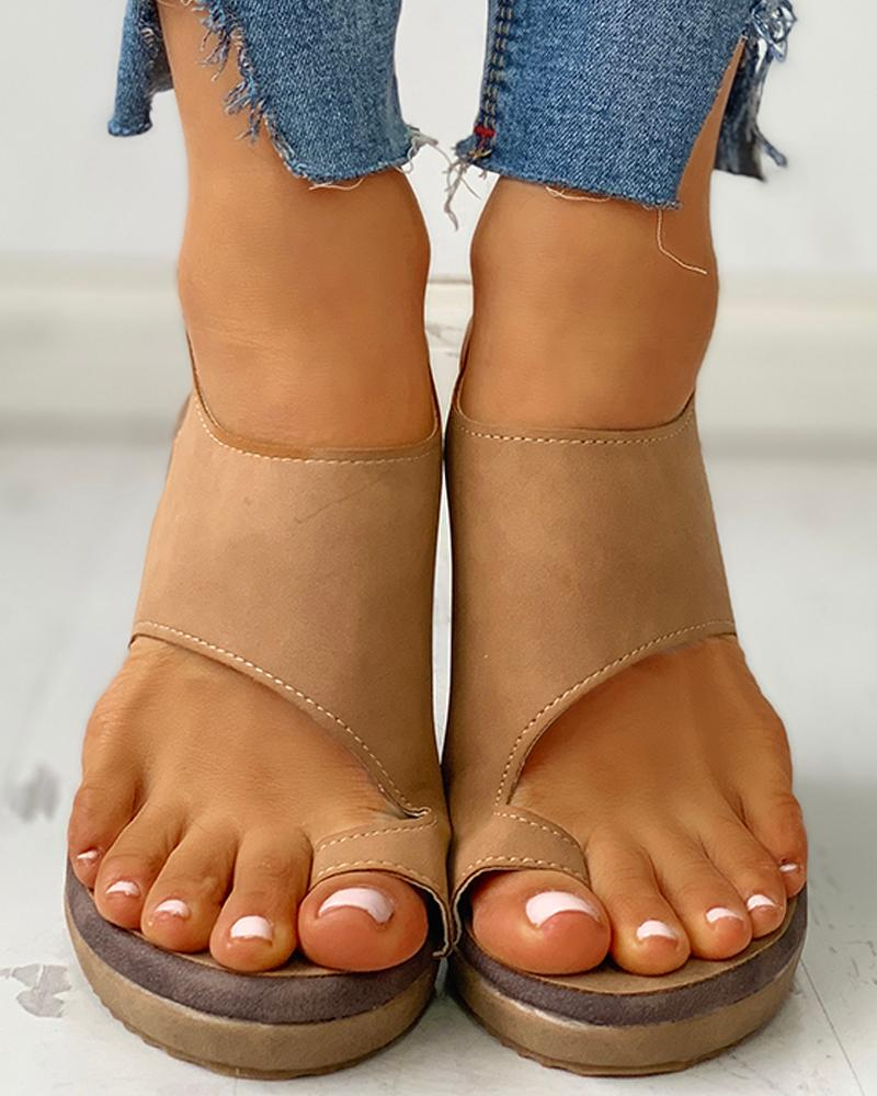 Toe Ring Cutout Slingback Sandals фото