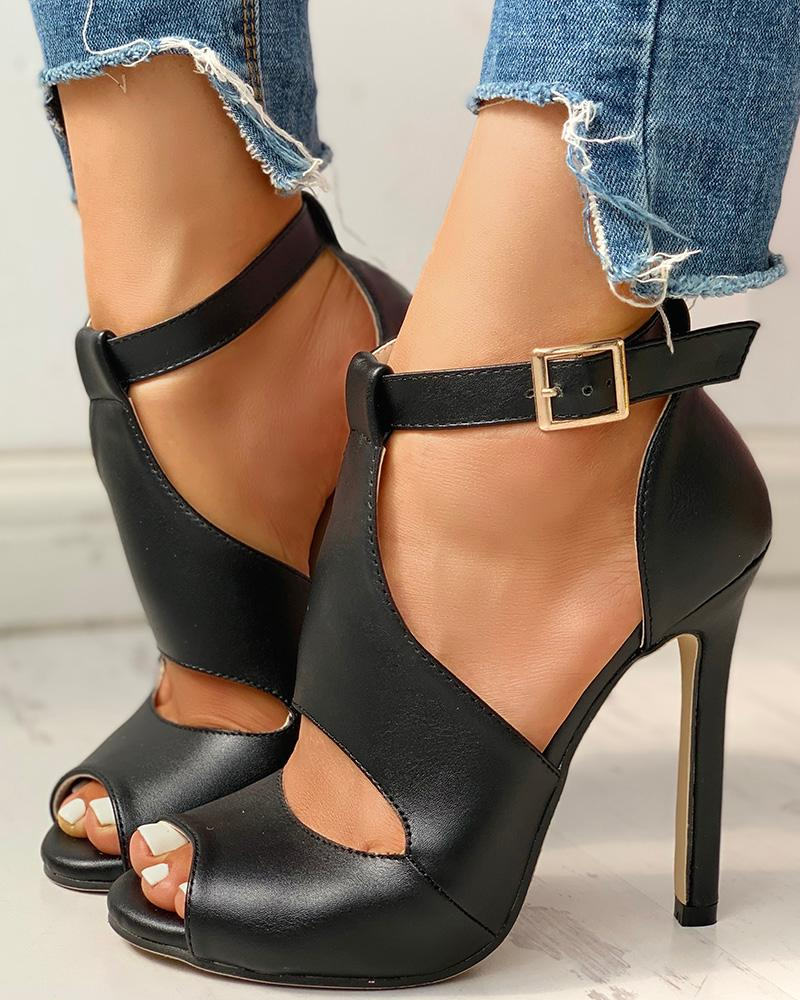 Solid Peep Toe Ankle-buckled PU Thin Heeled Sandals, Black