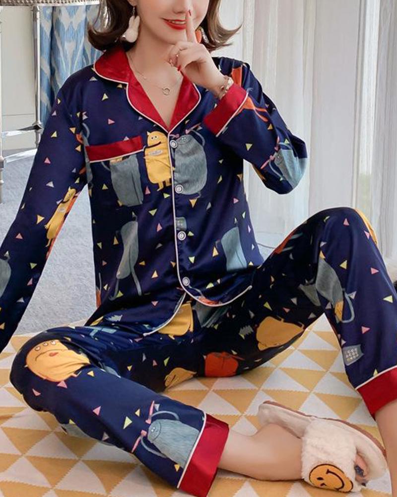 Satin Two-Piece Pajama Set фото