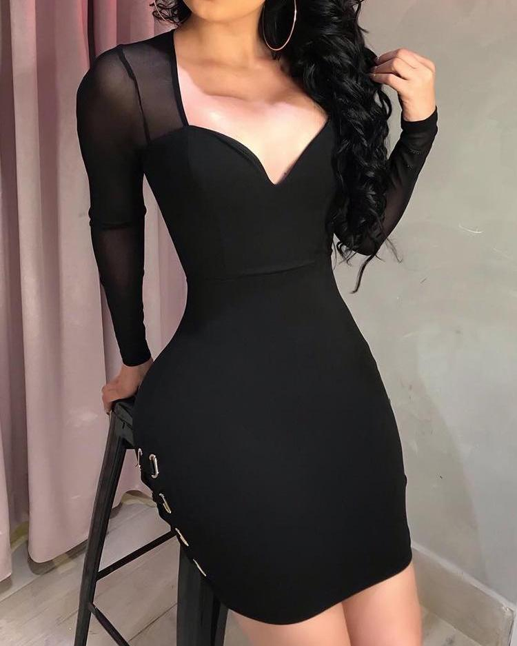 Sheer Mesh Side Lace-Up Bodycon Dress