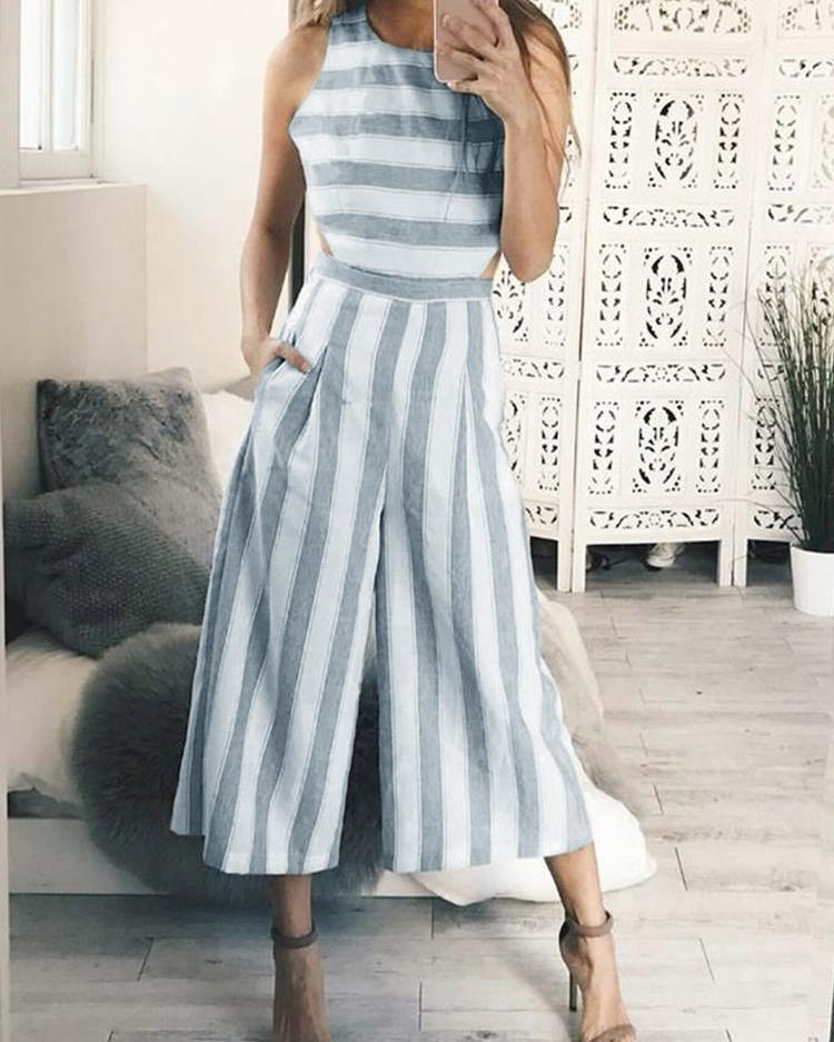 joyshoetique / Striped Cutout Waist Wide Leg Jumpsuit