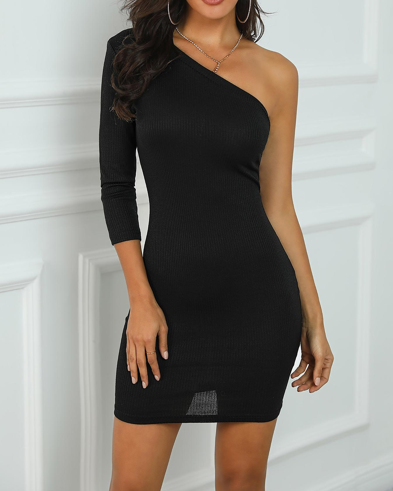 One Sleeve Bodycon Dress фото