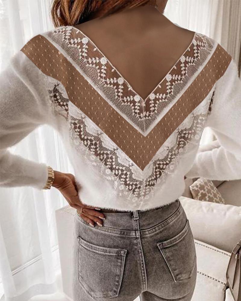 chicme / Crochet Lace Dot Mesh Sweater