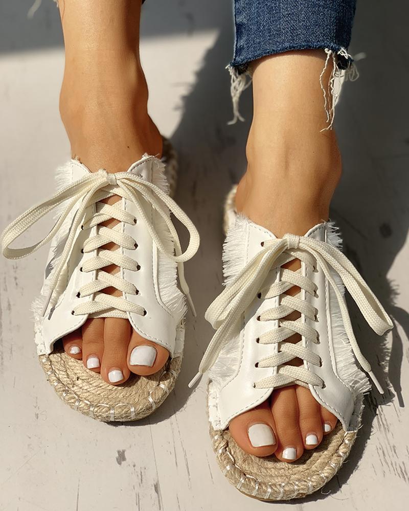 ivrose / Sequins Lace-Up Espadrille Casual Flat Sandals