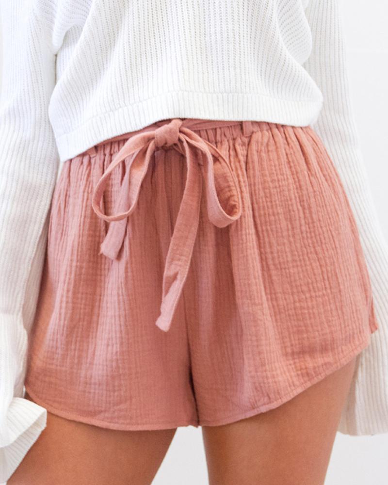 boutiquefeel / Paperbag cintura acanalada detalle pantalones cortos casuales