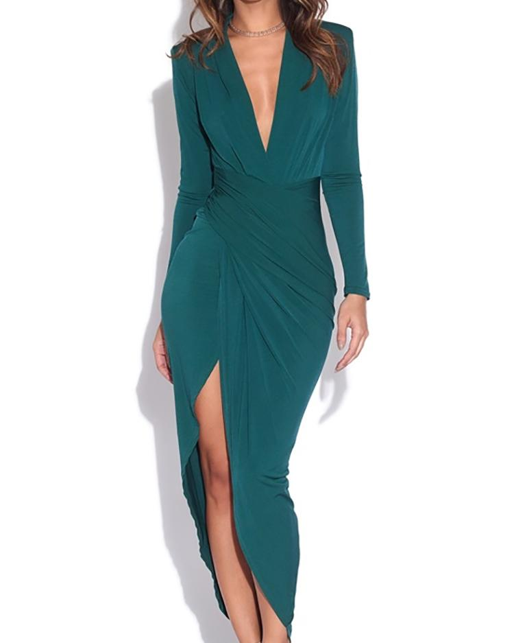 Long Sleeve Ruched Slit Irregular Party Dress фото
