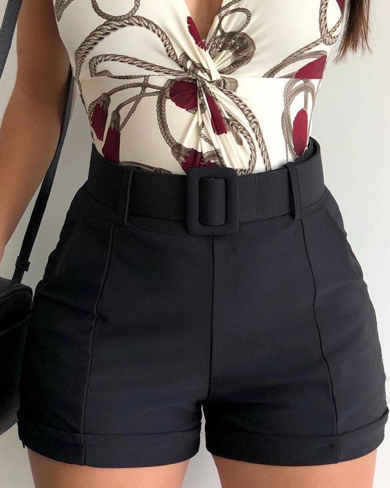 ivrose / Pantalones cortos casuales sólidos de cintura alta