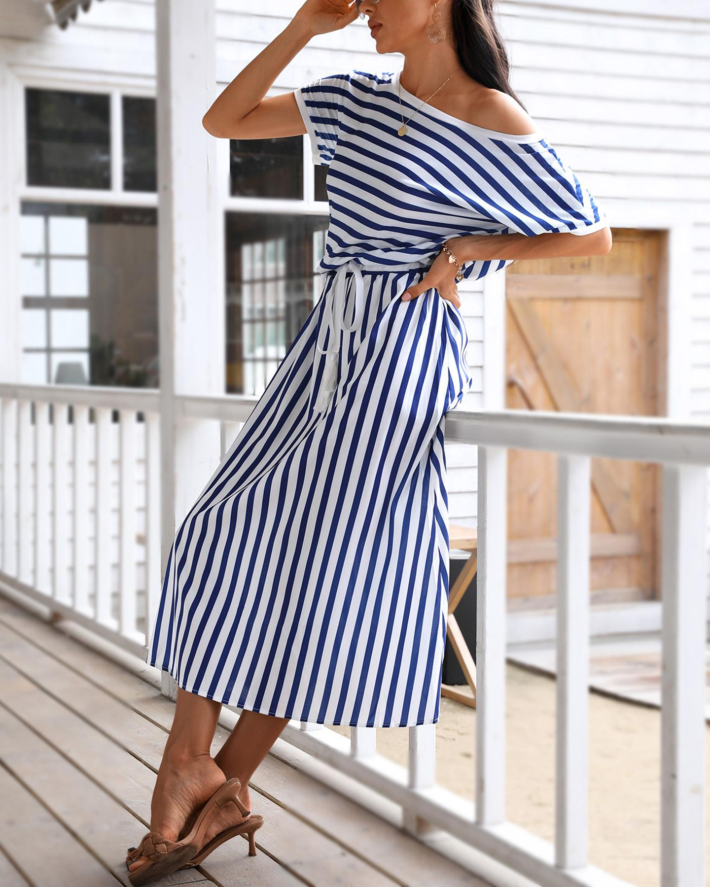 Navy Blue Striped Top &Knot Skirt фото