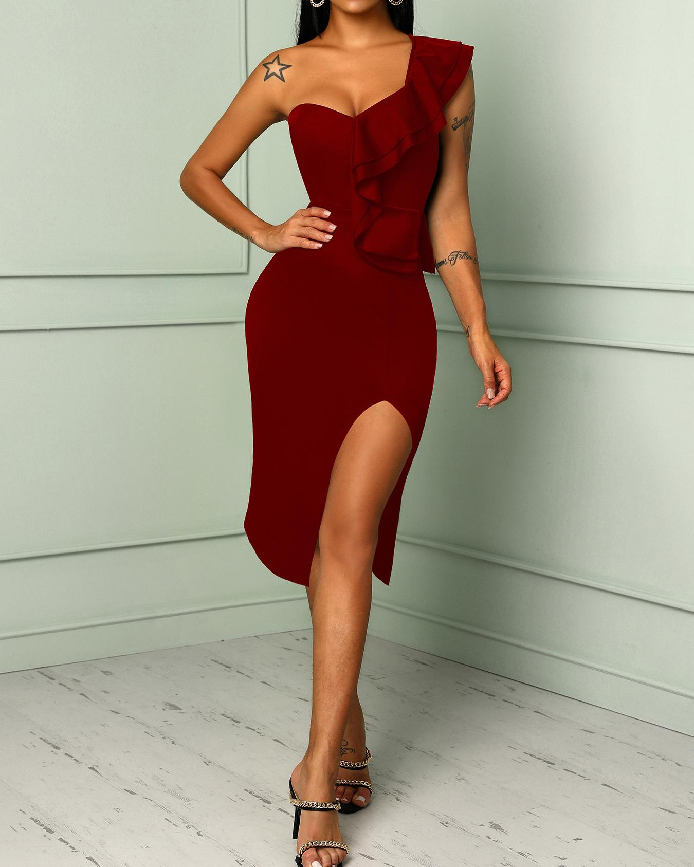 Solid One Shoulder Ruffles Trim Slit Bodycon Dress, Red