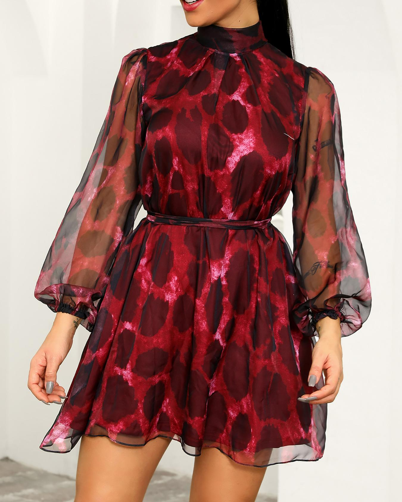 Leopard Sheer Mesh Overlay Belted Dress фото