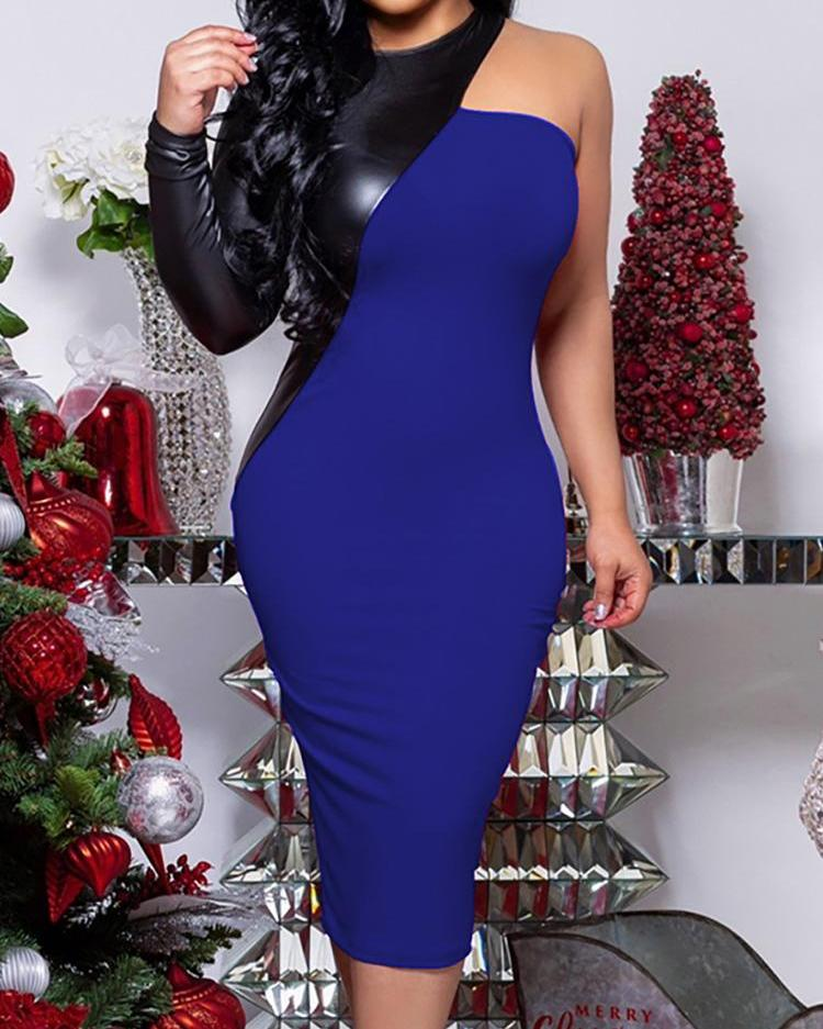 PU Splicing One Long Sleeve Party Dress фото