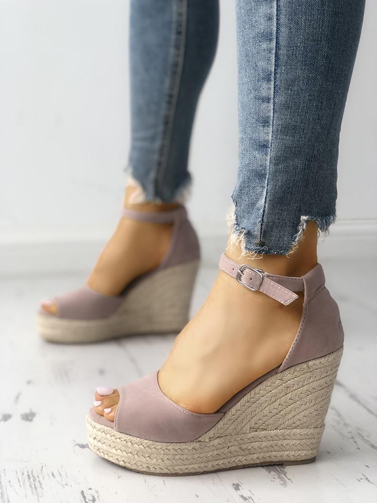 joyshoetique / Ankle Strap Espadrille Wedge Sandals