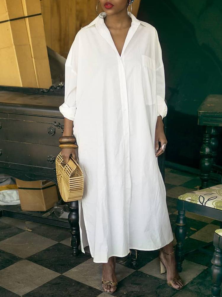 chicme / Vestido de camisa de manga comprida