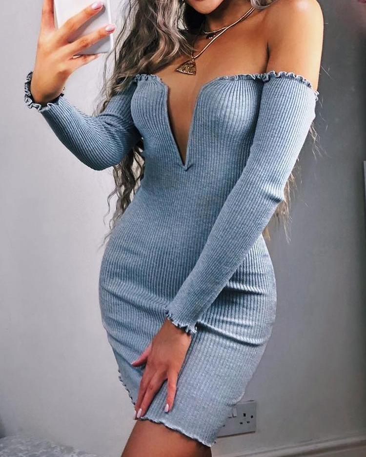Frills Notched Neck Long Sleeve Bodycon Dress фото
